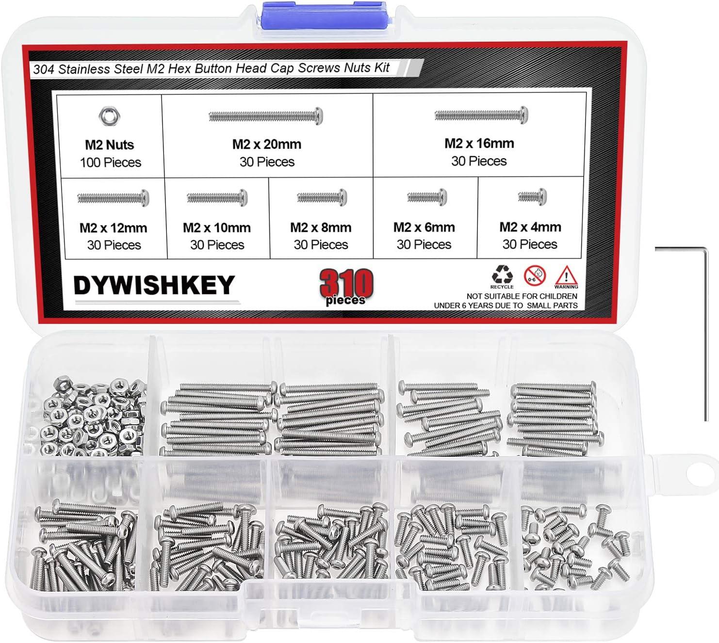 M2 Button Head Hex Socket Screws,Full Thread,Stainless Steel,100 Piece M2 x 4 mm