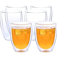 WELLS Double Walled Coffee Glasses Set of 6pcs Clear Glass Insulated Latte Cups 12oz 350ml