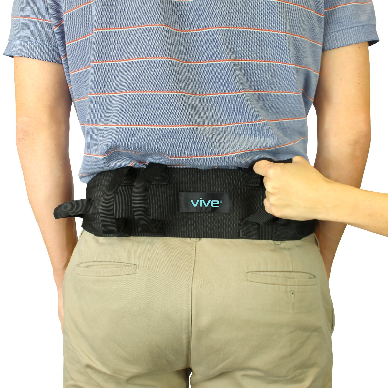 Transfer Belt With Handles by Vive - Medical Nursing Safety Gait Assist Device - Bariatrics, Pediatric, Elderly, Occupational & Physical Therapy - Long Gate Strap Quick Release Metal Buckle - 55 Inch by VIVE
