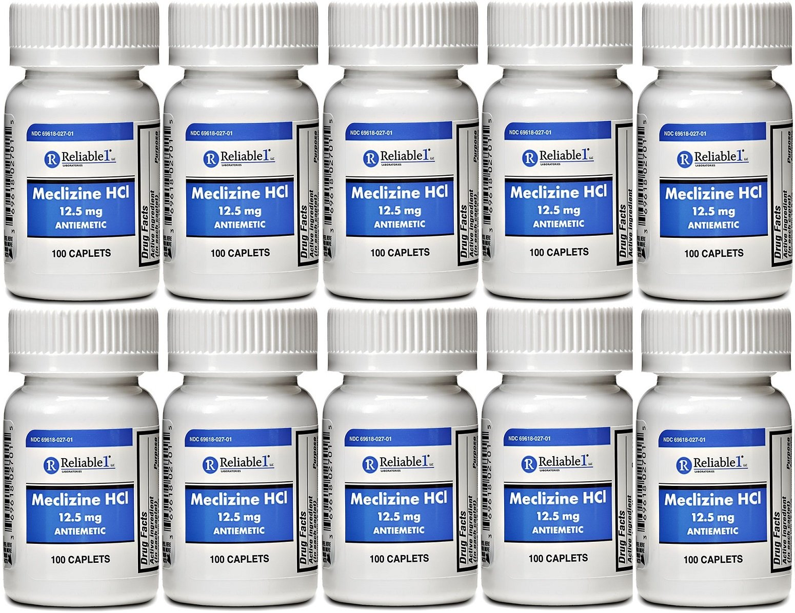 Meclizine 12.5 mg Antiemetic, Motion Sickness 100 Caplets PACK of 10 by Reliable-1 Laboratories