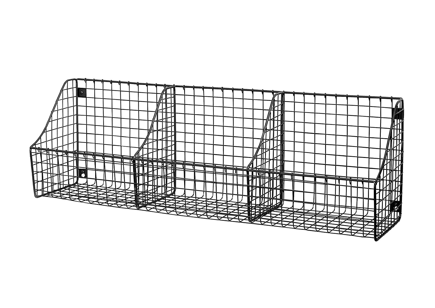 Spectrum Diversified Wall Mount Triple Storage Basket, Industrial Gray