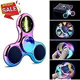 Fidget Spinner Hand Spinner Quimat LED Licht AN Finger Spielzeug EDC 18 Modi Blinken Perfekt für Kind Erwachsene hilft Anti-Angst Konzentration um Langeweile Stress zu lindern Hochgeschwindigkeit (Farbig/Regenbogen)