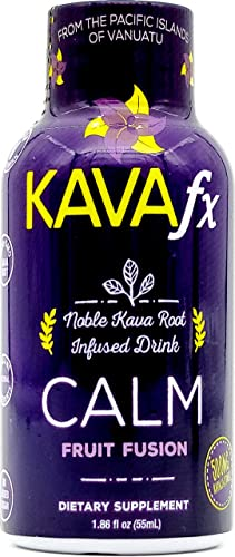 Kava FX CALM Noble Kava Kava Shot, 500mg Kavalactones per Bottle, GMP Certified, Vegan