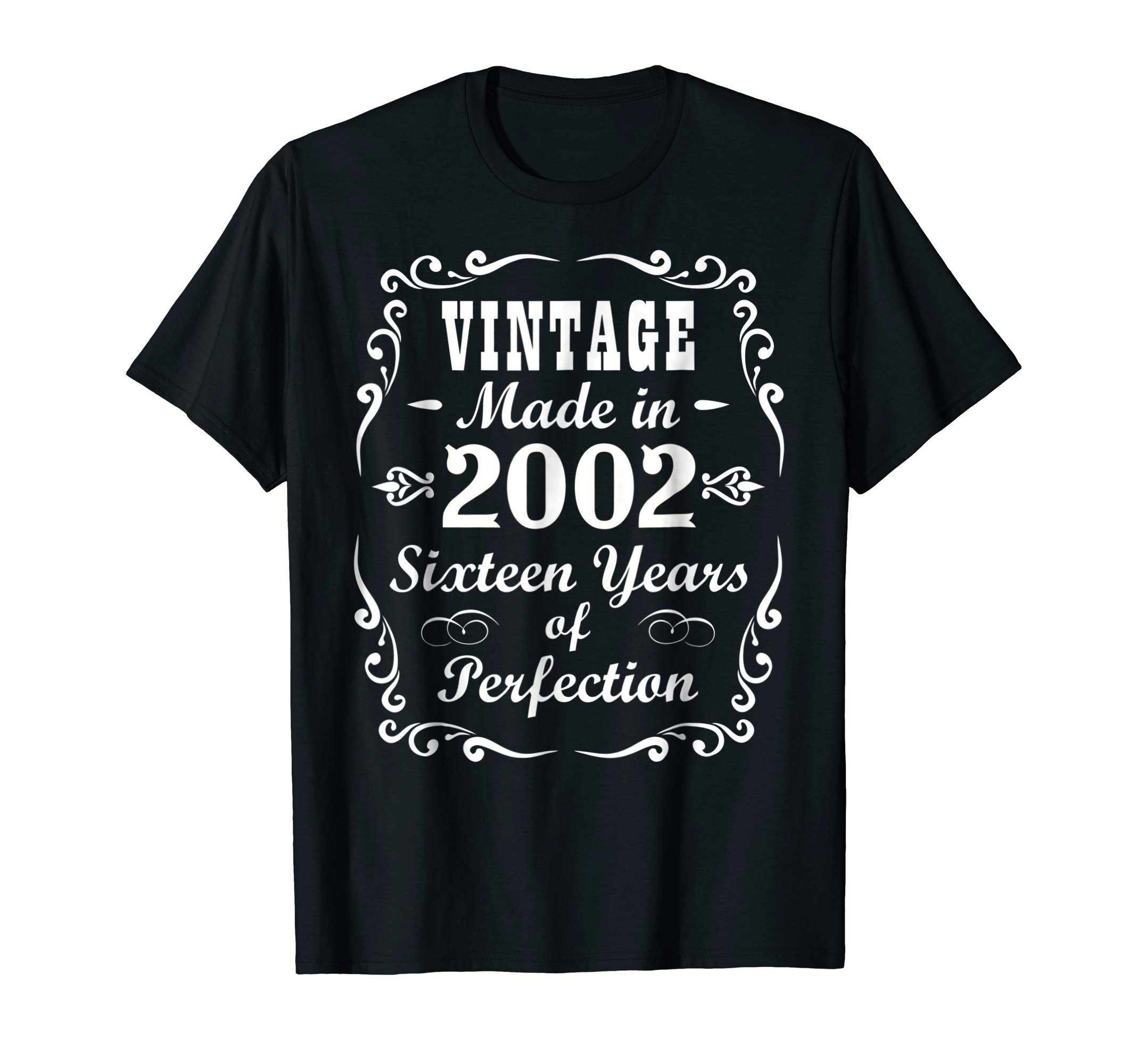 16th Birthday Gift Vintage 2002 Tee Sixteen Years Perfection