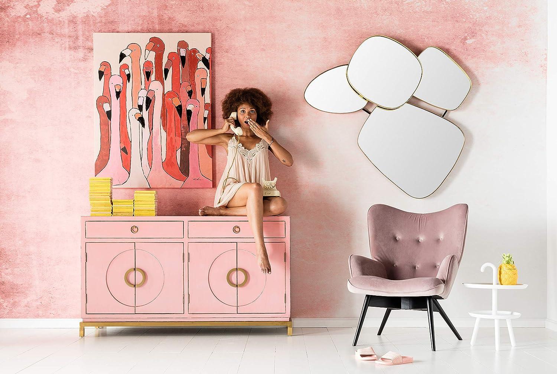 Wanddekoration mit Flamingo Kare Design Bild Touched Flamingo Meeting rosa, XXL Leinwandbilder auf Keilrahmen H//B//T rot 120x90x4cm