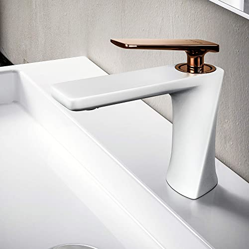 JOMOLA Modern Bathroom Vanity Sink Faucet with Single Handle Lavatory faucet One Hole Deck Mount Basin Mixer Tap Brass Matte White