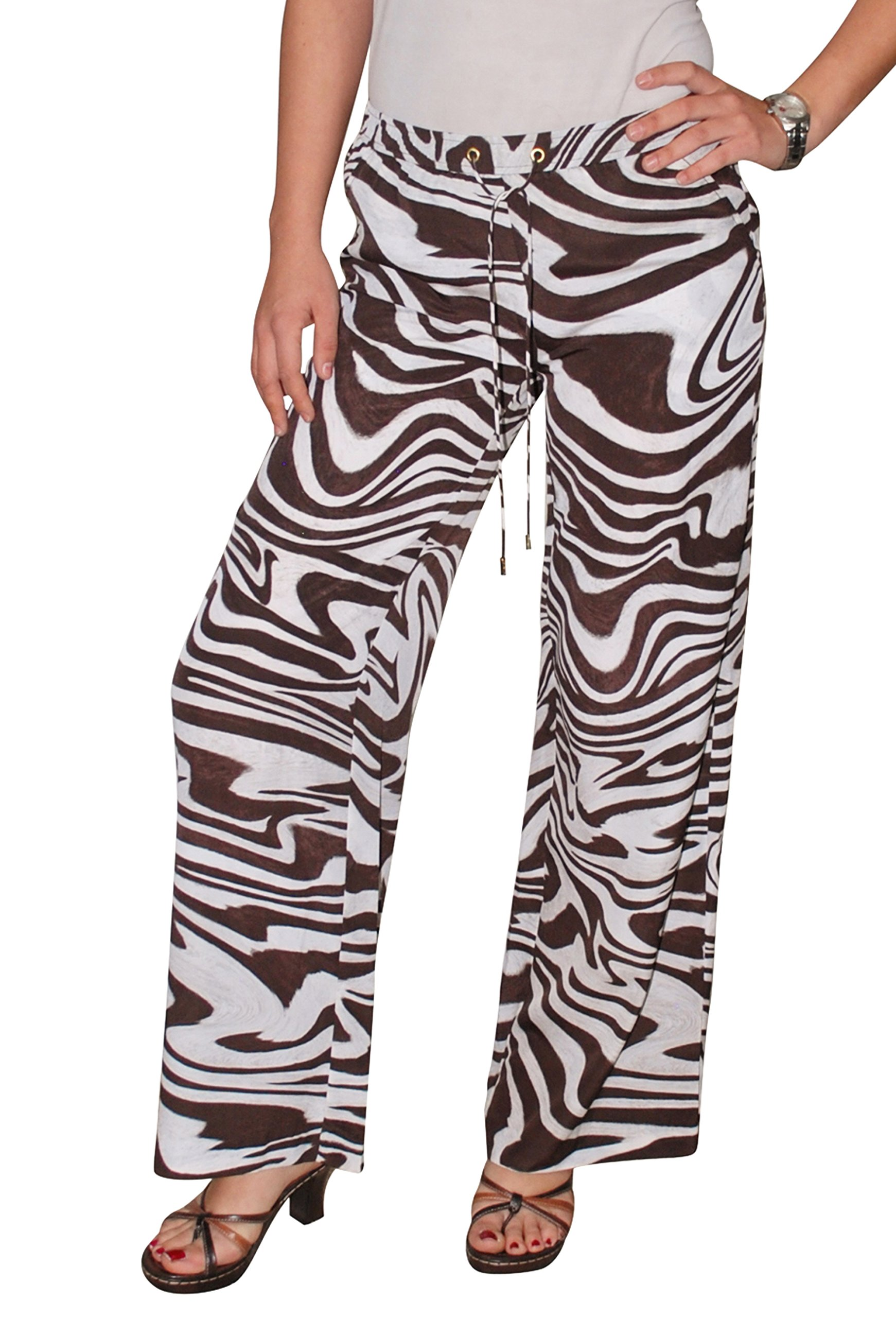 Michael Kors Women`s Wide Leg Animal Print Pants Chocolate (6P) by Michael Kors