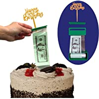 Money Cake Dispenser Box, Cake Money Pull Out Kit, Money Cake Set includes 2 plastic rolls (50 pockets each) and Happy Birthday or Card Holder Topper