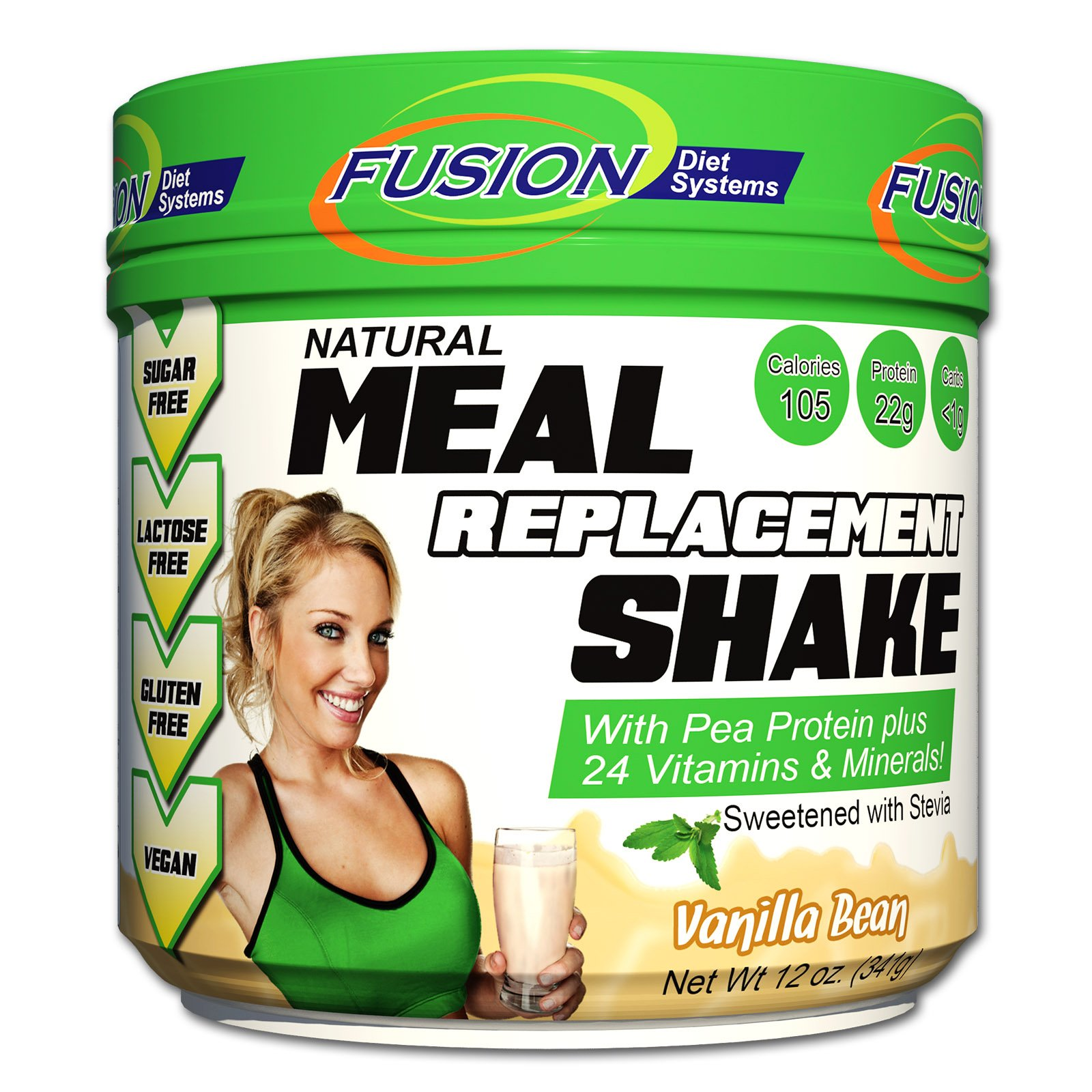 Fusion Plant Based Vegan Meal Replacement Protein Powder – Vanilla Bean Flavor, Best Pure Raw Complete Sports Performance Shake, Gluten-Free, Sugar-Free, 10 Servings, by Fusion Diet Systems