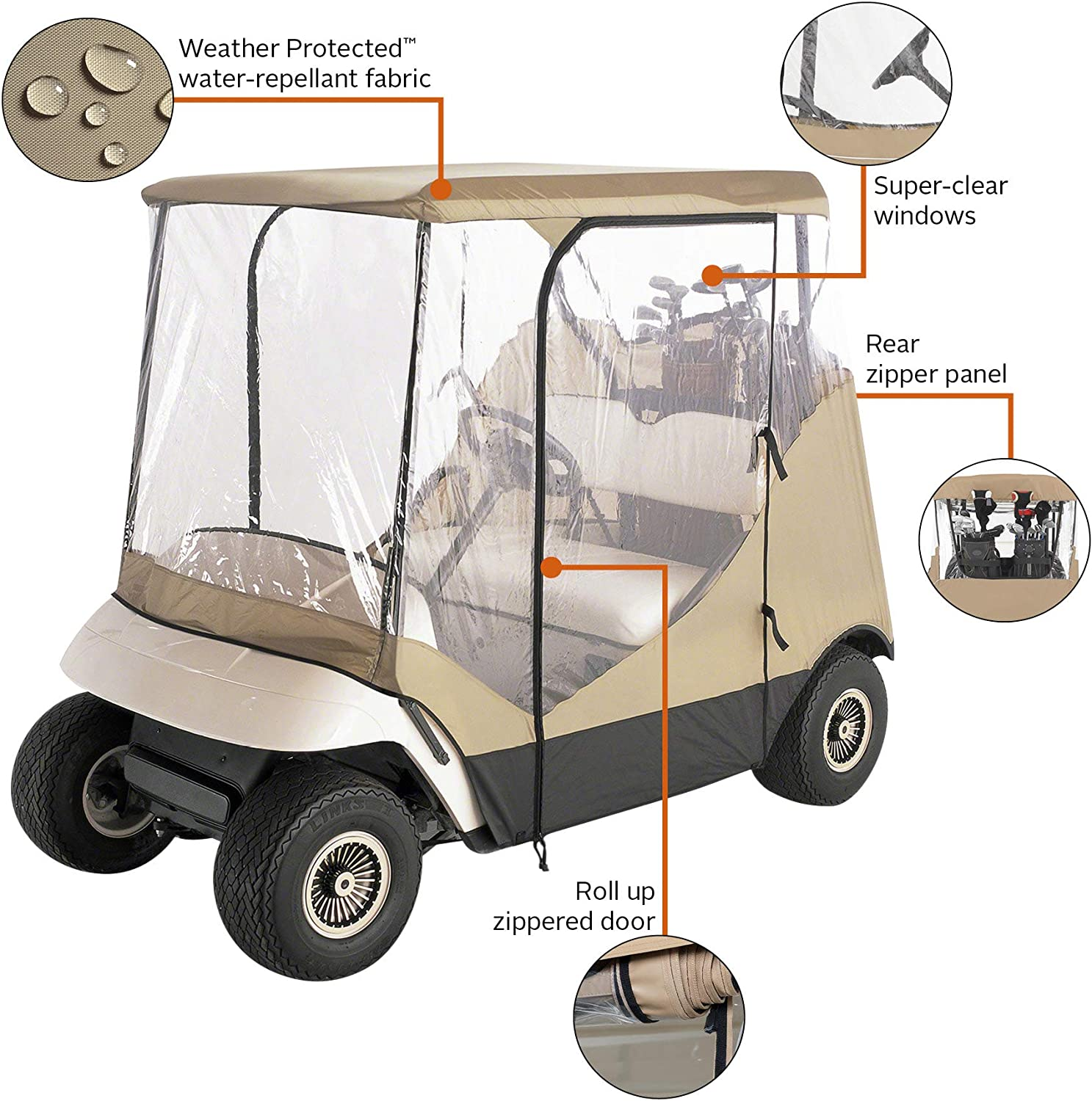 Classic Accessories Fairway Travel 9-Sided 9-Person Golf Cart Enclosure, Tan