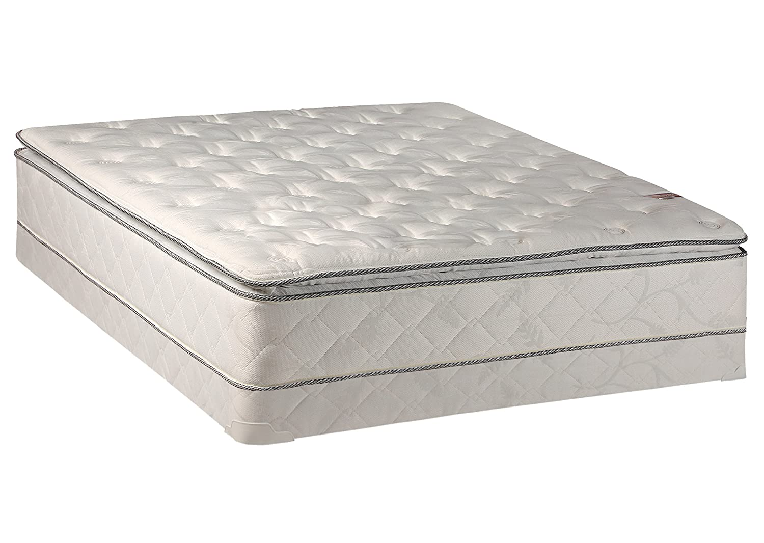 Continental Sleep, 10-Inch Medium Plush Pillowtop Innerspring Mattress and 4-inch Box Spring/Foundation Set, No Assembly Required, Twin Size