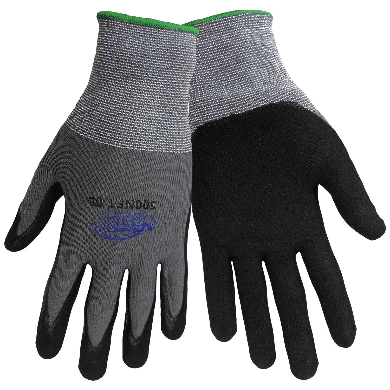 Global Glove 500NFT Tsunami Grip Foam Nitrile Glove, Work, Medium, Gray/Black (Case of 72) by Global Glove B00AIXZRGG