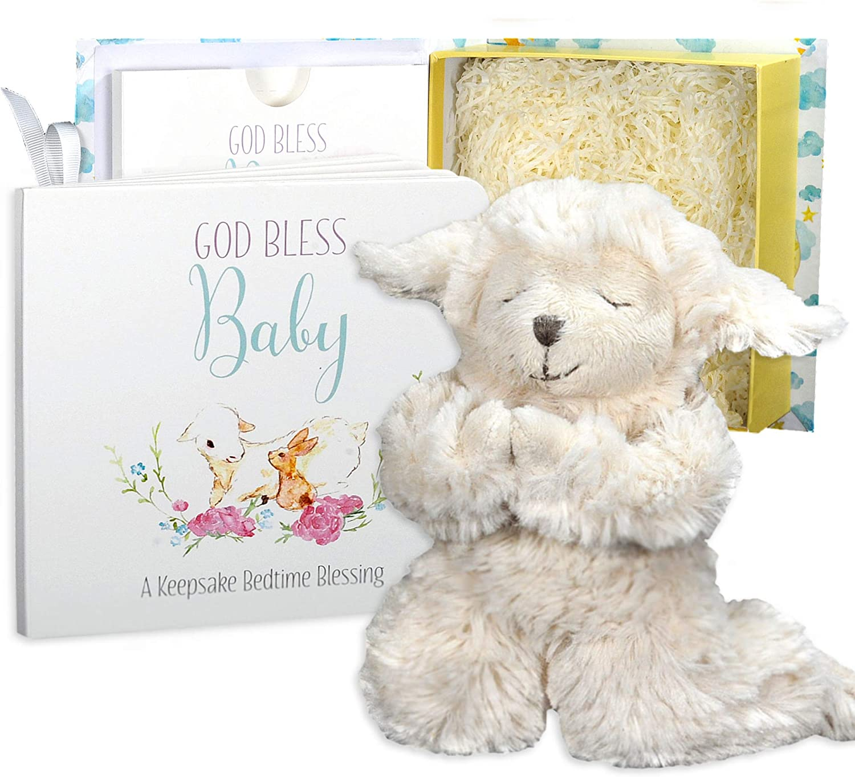 Set de regalo para bebé con cordero musical orando y libro de oraciones en caja de recuerdos para niños y niñas