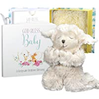 Baby Gift Set with Praying Musical Lamb and Prayer Book in Keepsake Box for Boys and Girls