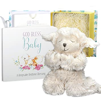 Amazon.com : Baby Baptism Gift Set with Praying Musical Lamb and Prayer Book in Keepsake Box for Christening Boys and Girls : Baby