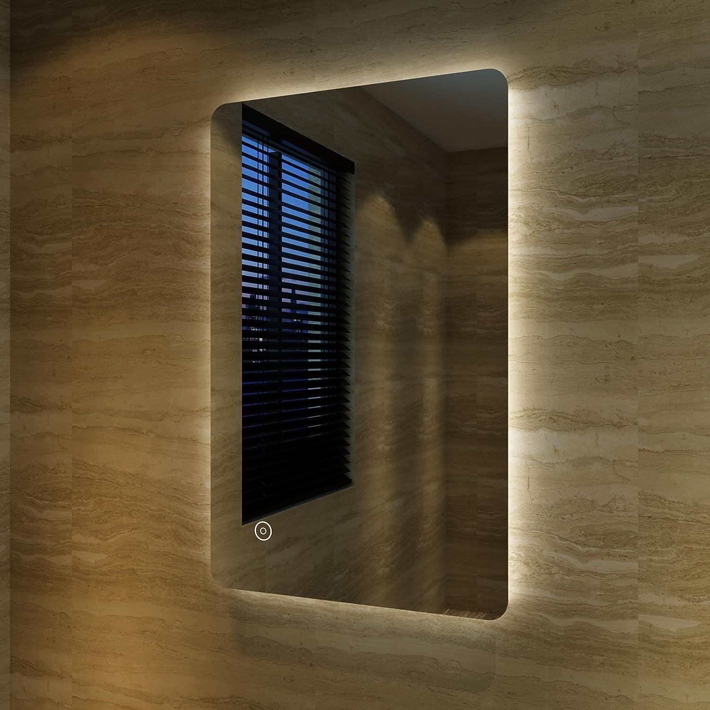 bleifreie Spiegel Wandspiegel 40 x 60cm kaltwei/ß IP44 energiesparend Badspiegel Lichtspiegel Kupfer