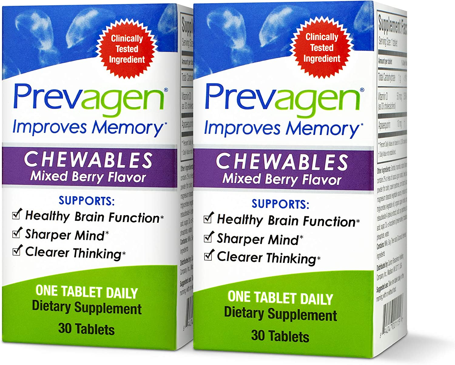 Prevagen Improves Memory - Regular Strength 10mg, 30 Chewables |Mixed Berry-2 Pack| with Apoaequorin & Vitamin D | Brain Supplement for Better Brain Health, Supports Healthy Brain Function and Clarity