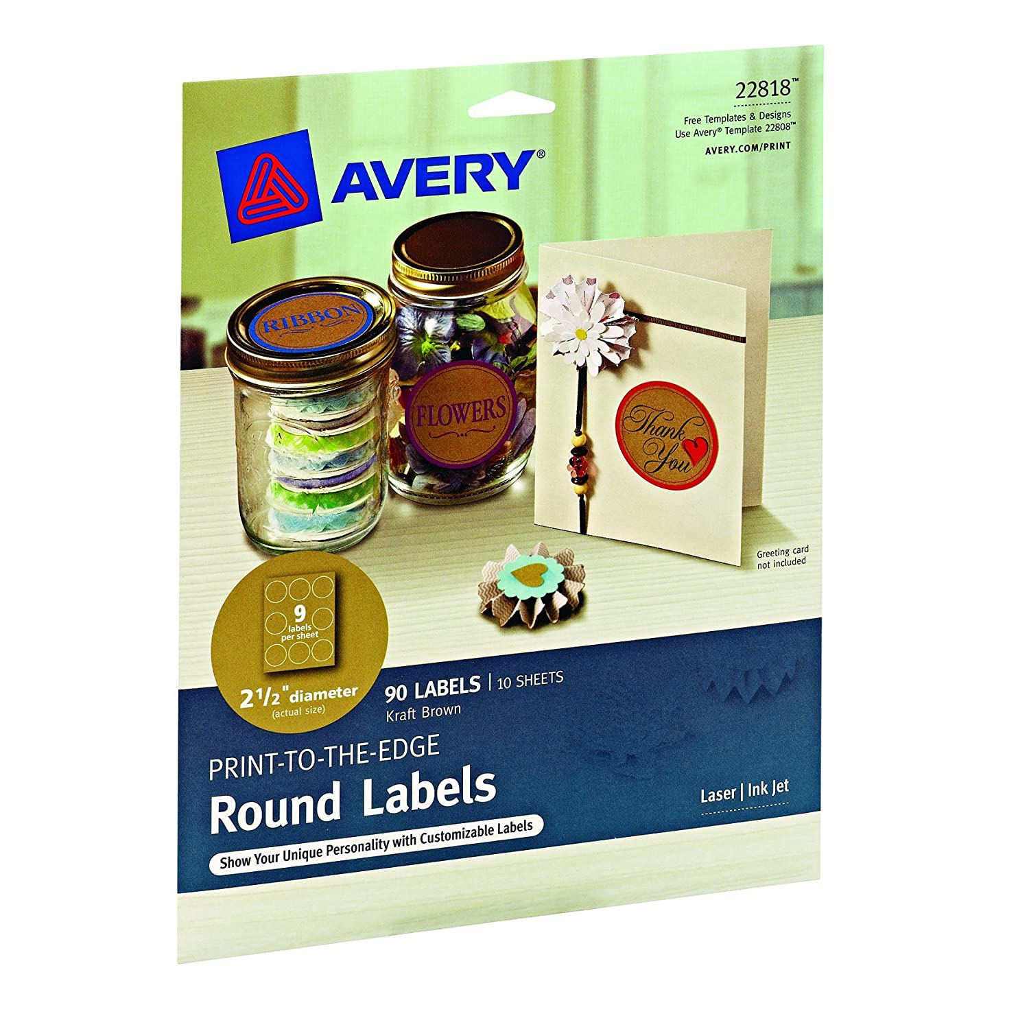Amazon.com : Avery Pearlized Scallop Round Labels, 2.5-Inch Diameter, Pack  of 72 (8214) : Office Products