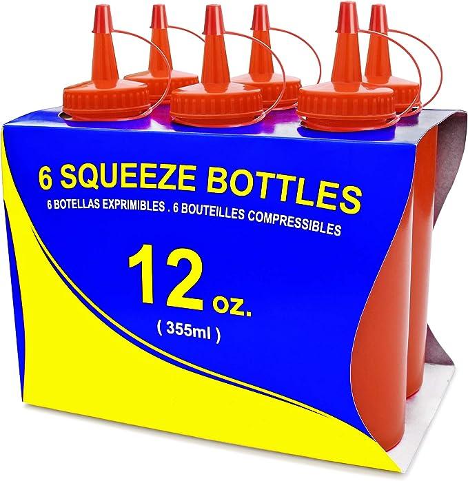 Enterprises SB-12-R Red 12 oz Squeeze Bottle G.E.T Pack of 12 Break Resistant Red