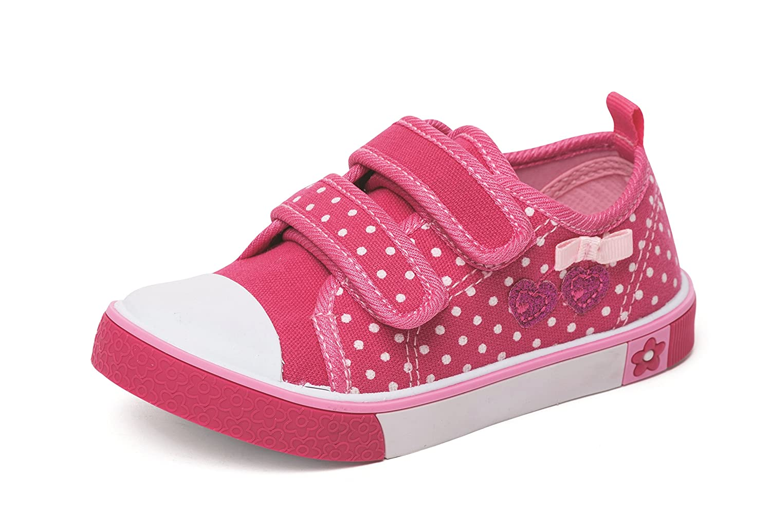 GIRLS INFANTS CHATTERBOX PINK POLKA DOT CANVAS TRAINERS PUMPS SHOES UK SIZE 4