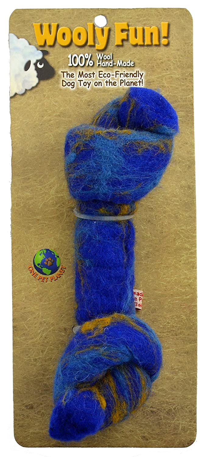One Pet Planet Wool Knotted Bone Chew Toy, 6.5-Inch, bluee