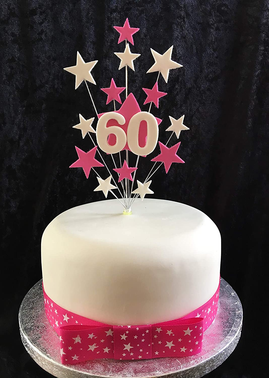 Fabulous 60Th Birthday Cake Topper Pink And White Stars With White Age Funny Birthday Cards Online Bapapcheapnameinfo