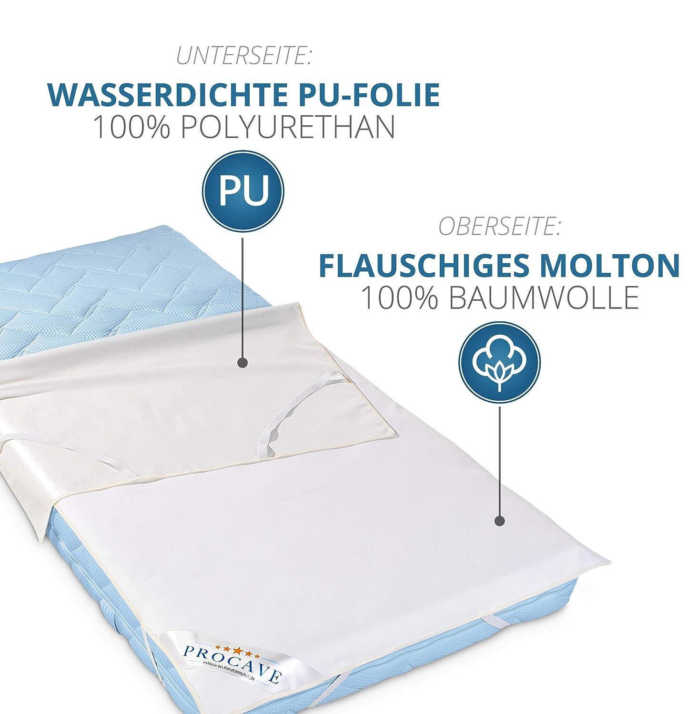 atmungsaktive Matratzenauflage wei/ß Matratzenschutz ohne Knistern Made in Germany PROCAVE wasserdichter Matratzenschoner Babybett 50 x 100 cm