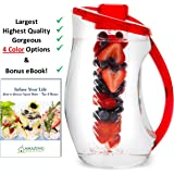 Infusion Pitcher & Gourment Recipe eBook (Emailed) | Gorgeous Water Infuser Pitcher with the Largest Capacity (3 Liter or 101oz) | Enjoy Endless Infused Creations - Red