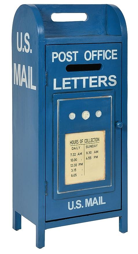 ts-ideen Unidad de Almacenamiento Armario estante para CD DVD Diseño Buzon US Mail Azul 71,5 x 30 cm