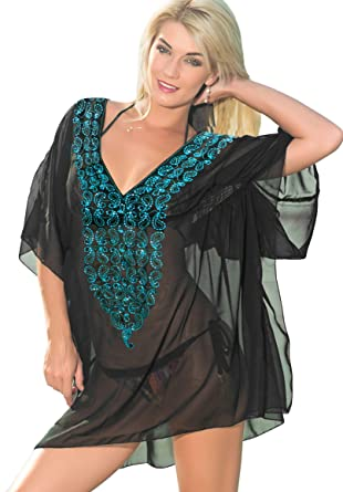 9f4ecfbc7412 La Leela Sheer Chiffon Sequin Embroidered Swim Cover up Dark Blue, Large at  Amazon Women's Clothing store: Fashion Swimwear Cover Ups