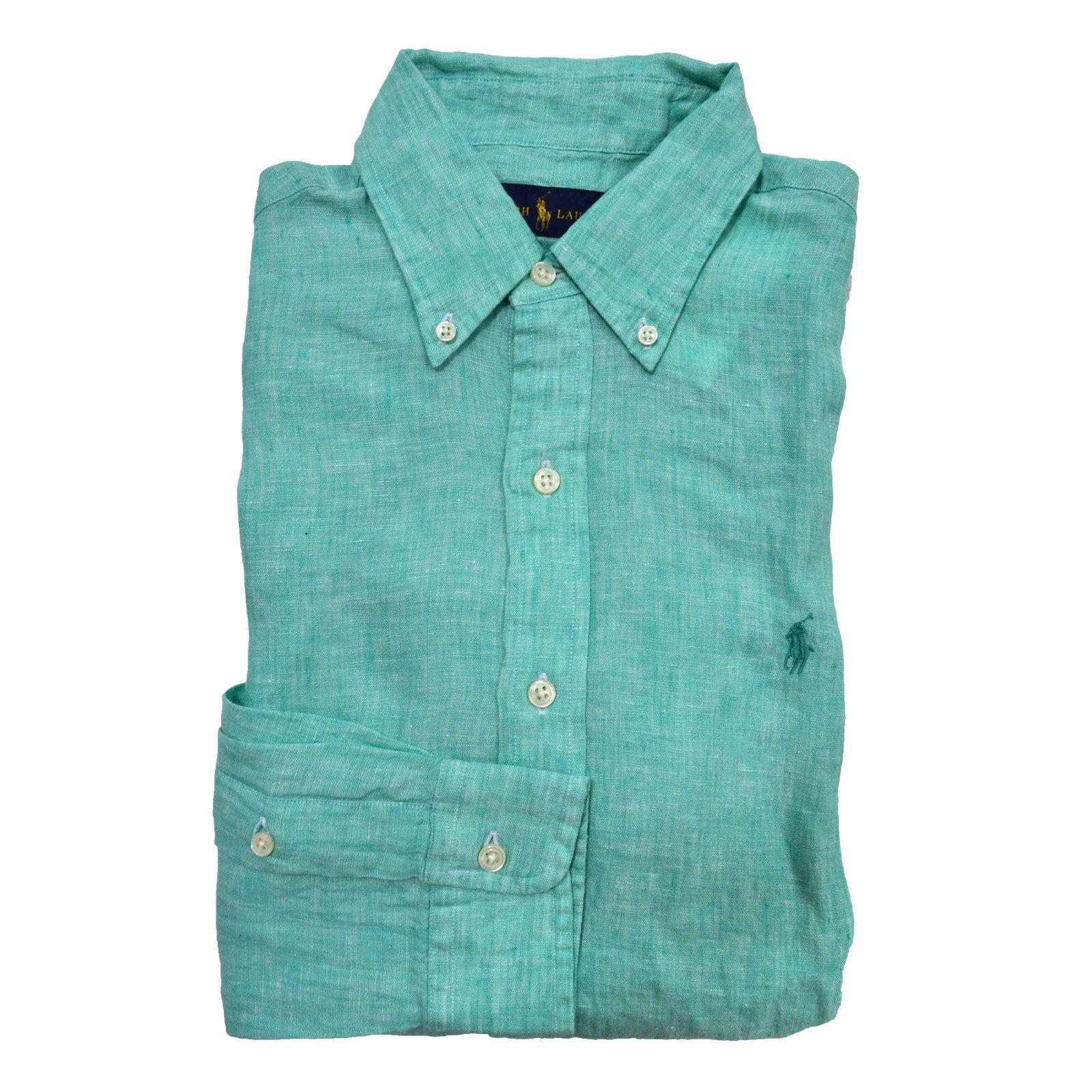 Polo Ralph Lauren Men's Longsleeve Linen Buttondown Shirt (L, Robin) by Polo Ralph Lauren