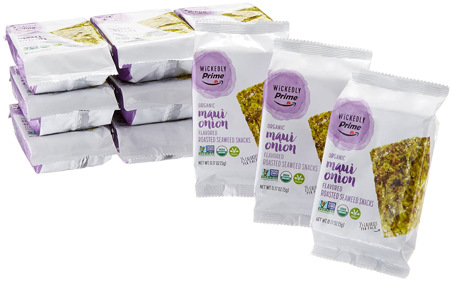 Wickedly Prime Organic Roasted Seaweed Snacks, Maui Onion Flavored, 0.17 Ounce (Pack of 12)