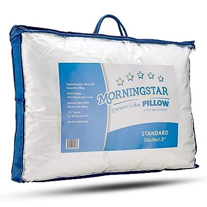 Amazon Com Mastertex Down Alternative Bed Pillow Cotton Cover Super