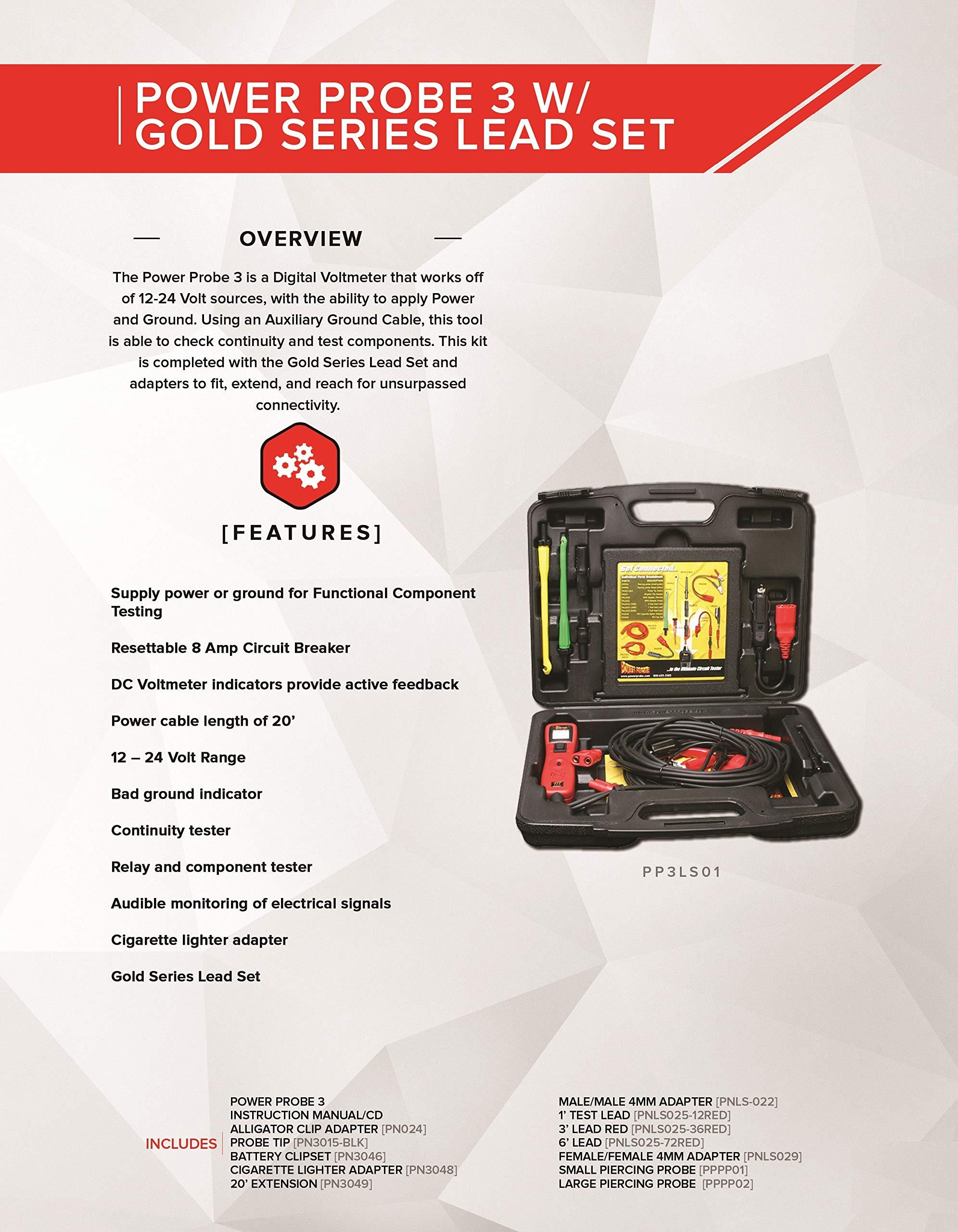 Power Probe Iii Circuit Tester W Lead Set Kit Pp3ls01 Car Digital Voltmeter Diagnostic Test Tool