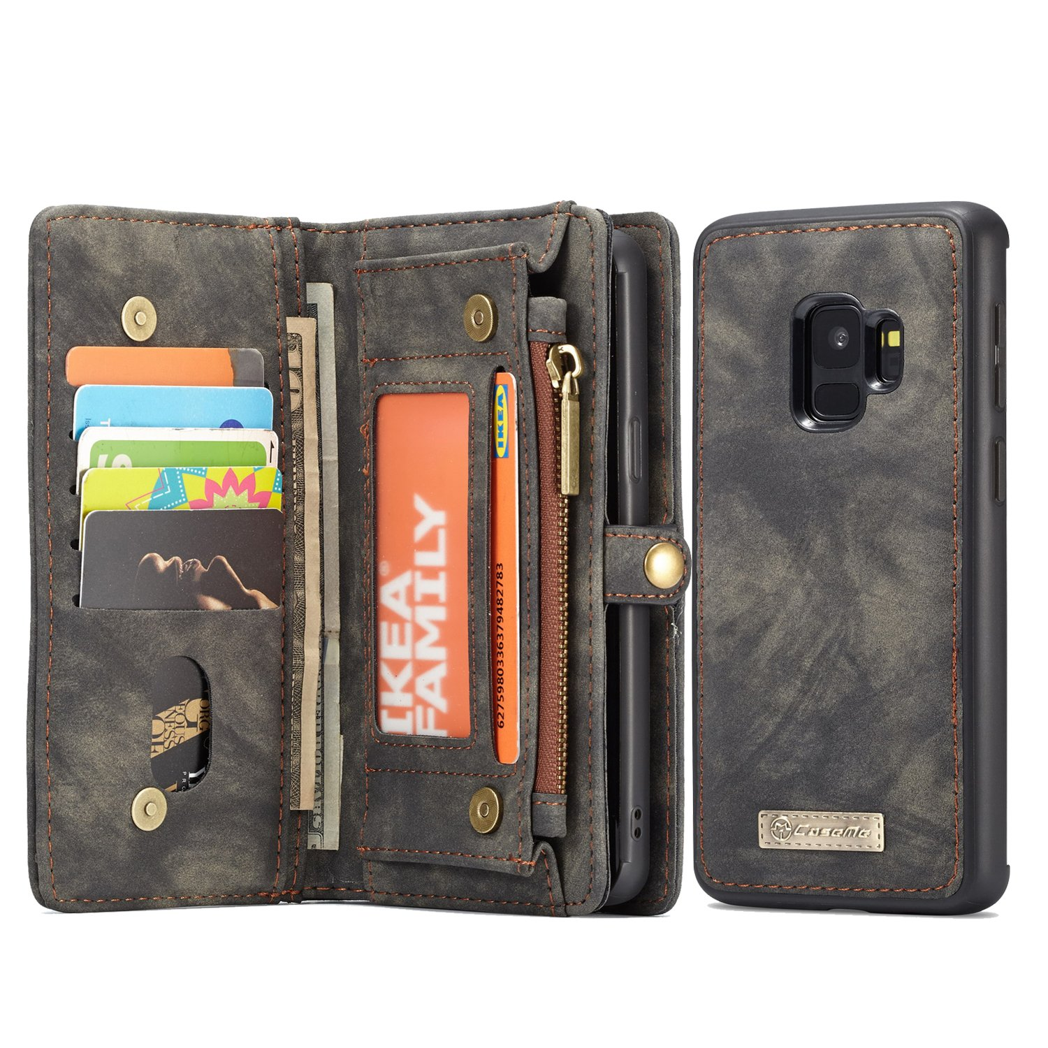 Samsung Galaxy S9 Plus Wallet, ICE FROG Detachable Magnetic Handmade Cowhide PU Leather Credit Card Slots Purse Pouch Flip Shell Removable Back Phone Case Cover - Black