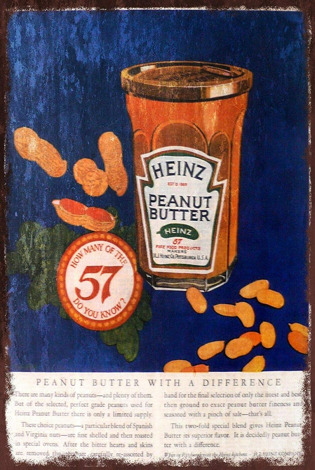 TNND Heinz Peanut Butter Advert Retro Style Metal Wall Sign Plaque, Food Kitchen Cafe Aluminum Metal Sign 8X12 Inches