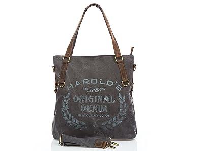Damen Tasche Echtleder Canvas Shopper Schultertasche Handtasche Vintage neu  grau 88c0ddccec
