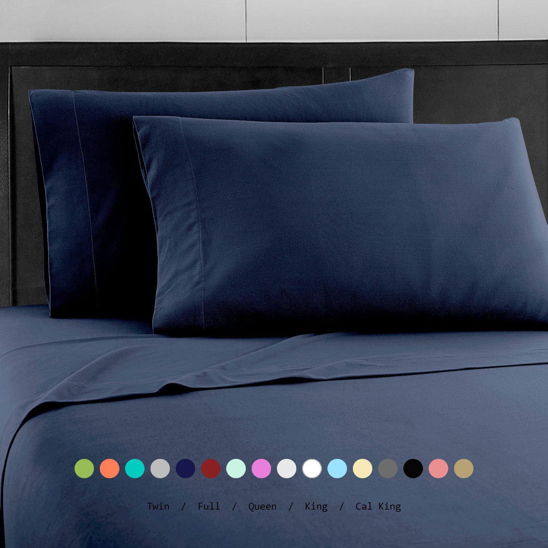 Prime Bedding ベッドシーツセット マイクロファイバー 2000 寝具4枚セット ツイン ブルー B06Y5YR5V1 ツイン|ネイビー ネイビー ツイン