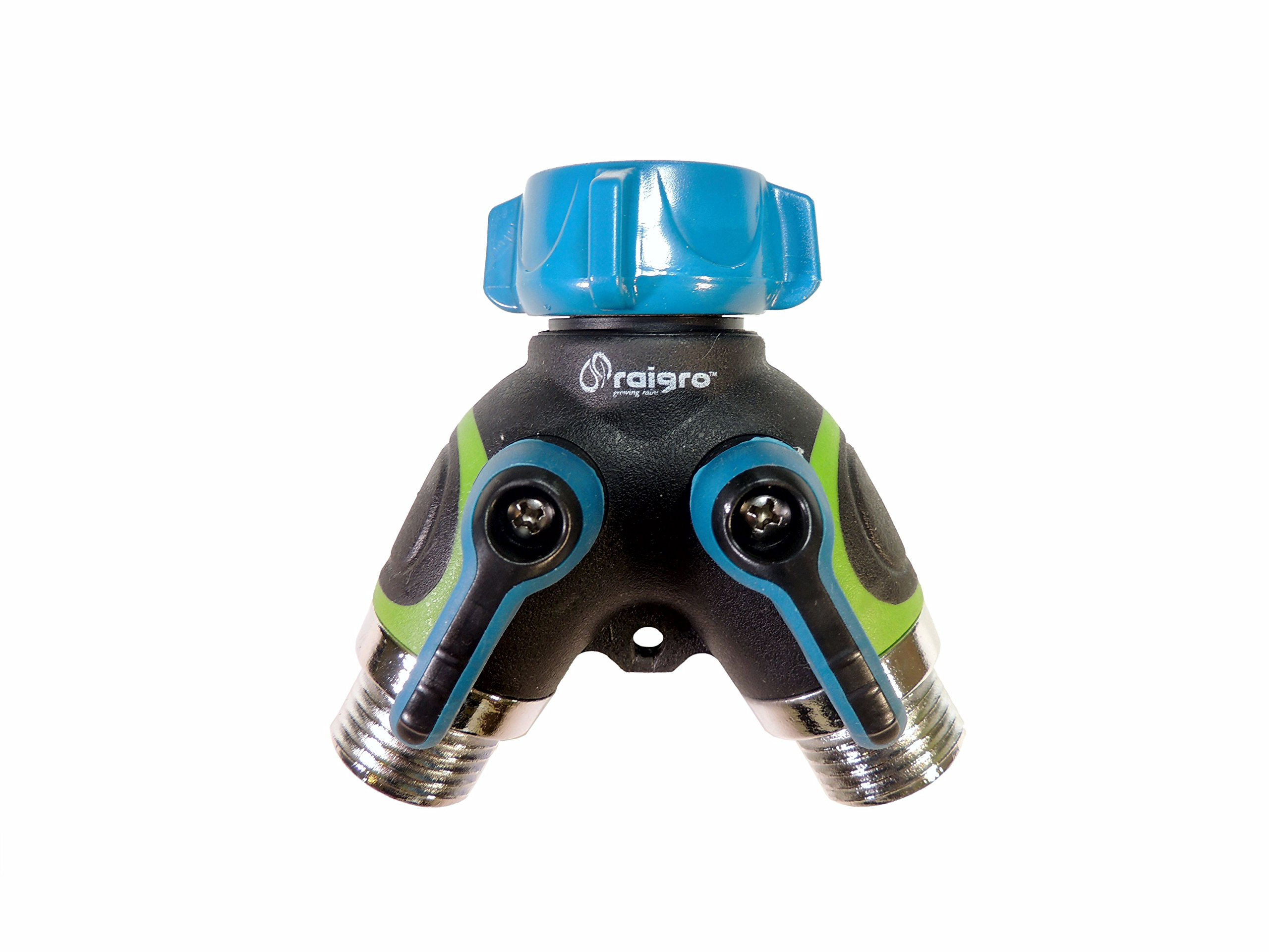 Raigro Garden Hose Splitter - Rugged, Easy Grip 2 Way Hose Connector