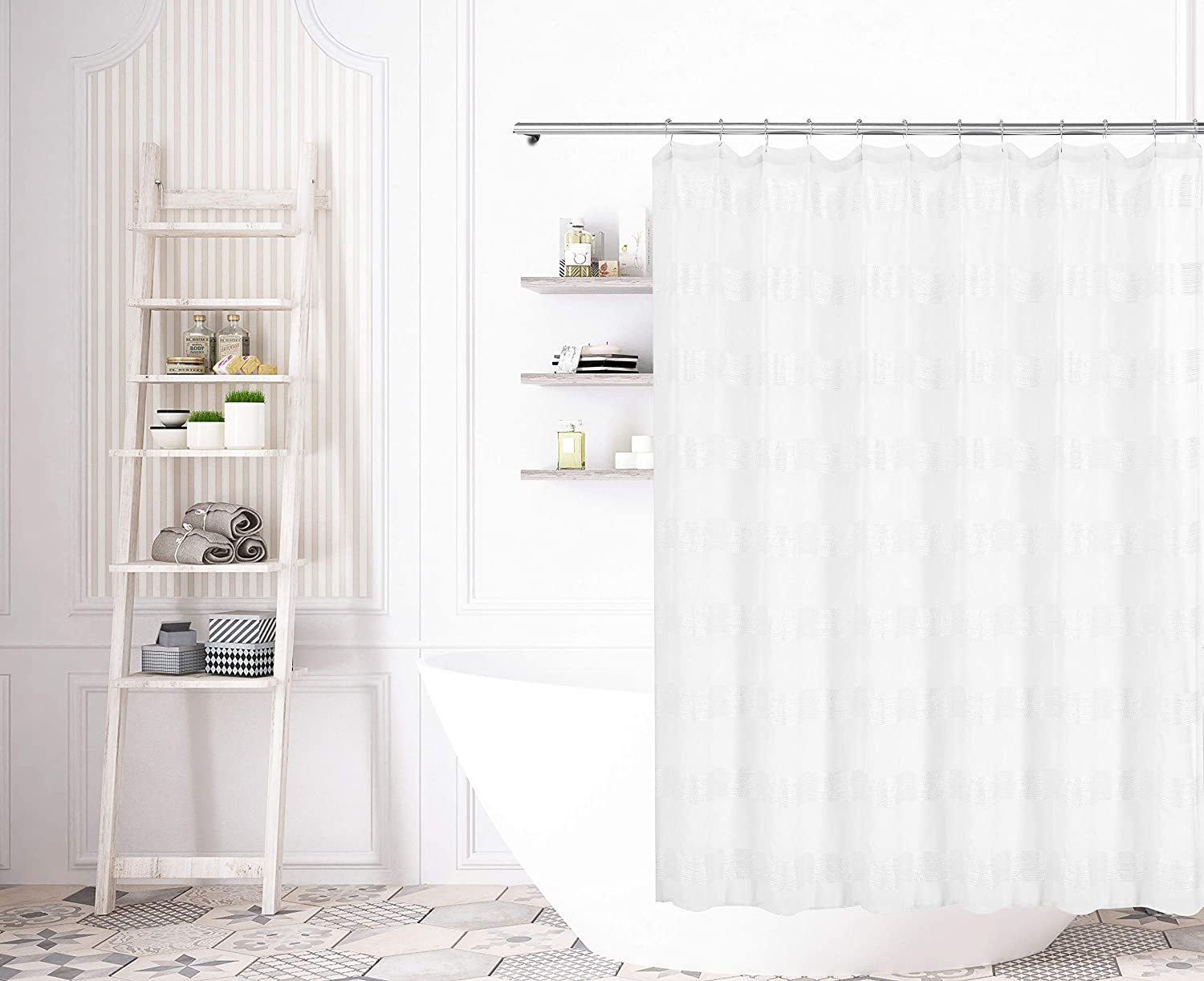 Amazon Bathroom And More Collection Sheer Pure White Shower Curtain Stripe Design 72 L Home Kitchen