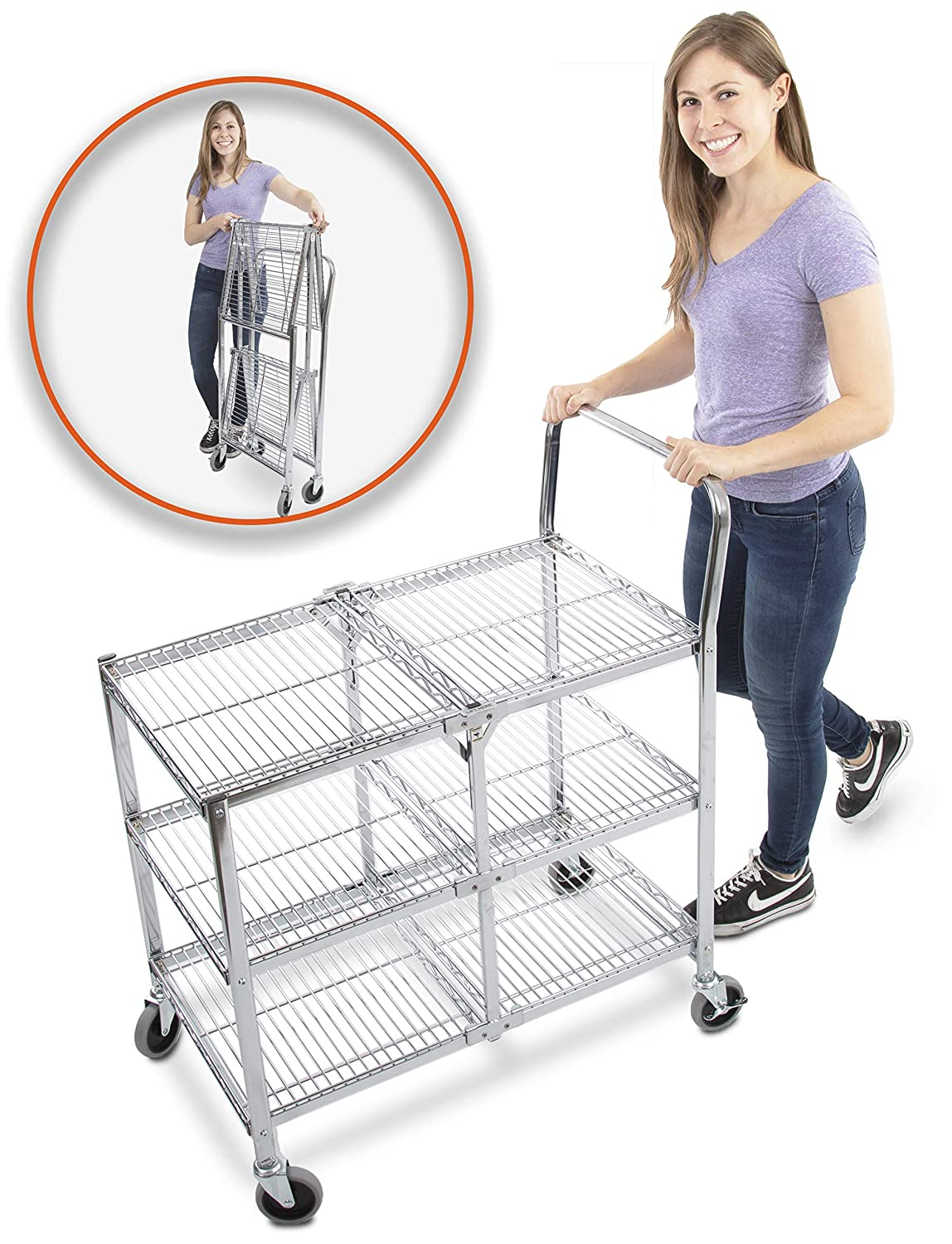 Original Tubstr – Collapsible Wire Cart - 3 Shelf Wire Utility Cart Provides Convenient Transport, Holds 300 Pounds and Folds Up for Storage - Commercial Grade