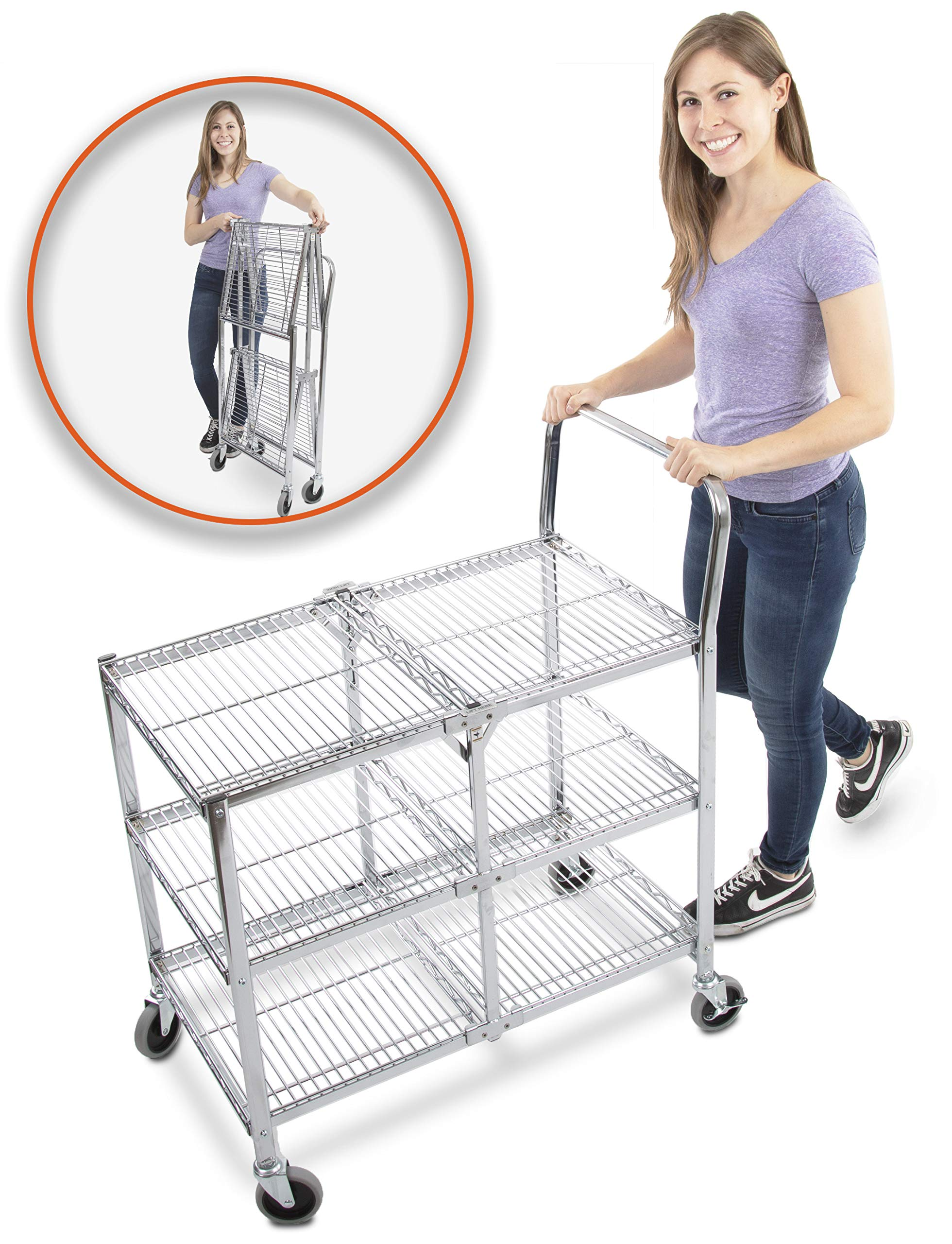 Original Tubstr - Collapsible Wire Cart - 3 Shelf Wire Utility Cart Provides Convenient Transport, Holds 300 Pounds and Folds Up for Storage - Commercial Grade by Stand Steady