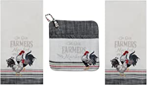 Farmers Market Kitchen Towel - Potholder Bundle, 2 Gray Striped Heavyweight Kitchen Towels with Embroidered Roosters and Matching Pocket PotHolder