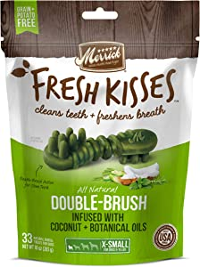 Merrick Fresh Kisses Coconut + Botanical Oils Dental Dog Treats For Extra Small Dogs - 10 oz Bag with 33 Brushes