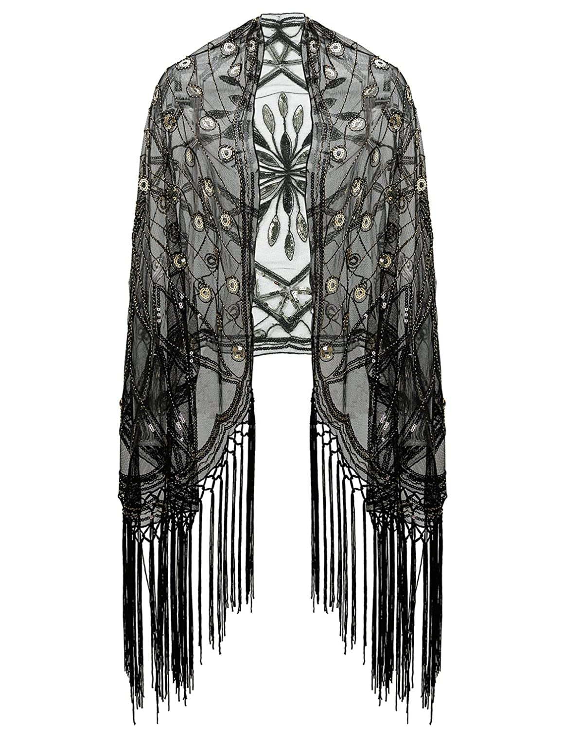 1920s Accessories | Great Gatsby Accessories Guide Metme Womens 1920s Scarf Wraps Sequin Deco Fringed Wedding Cape Evening Shawl Vintage Prom $24.99 AT vintagedancer.com