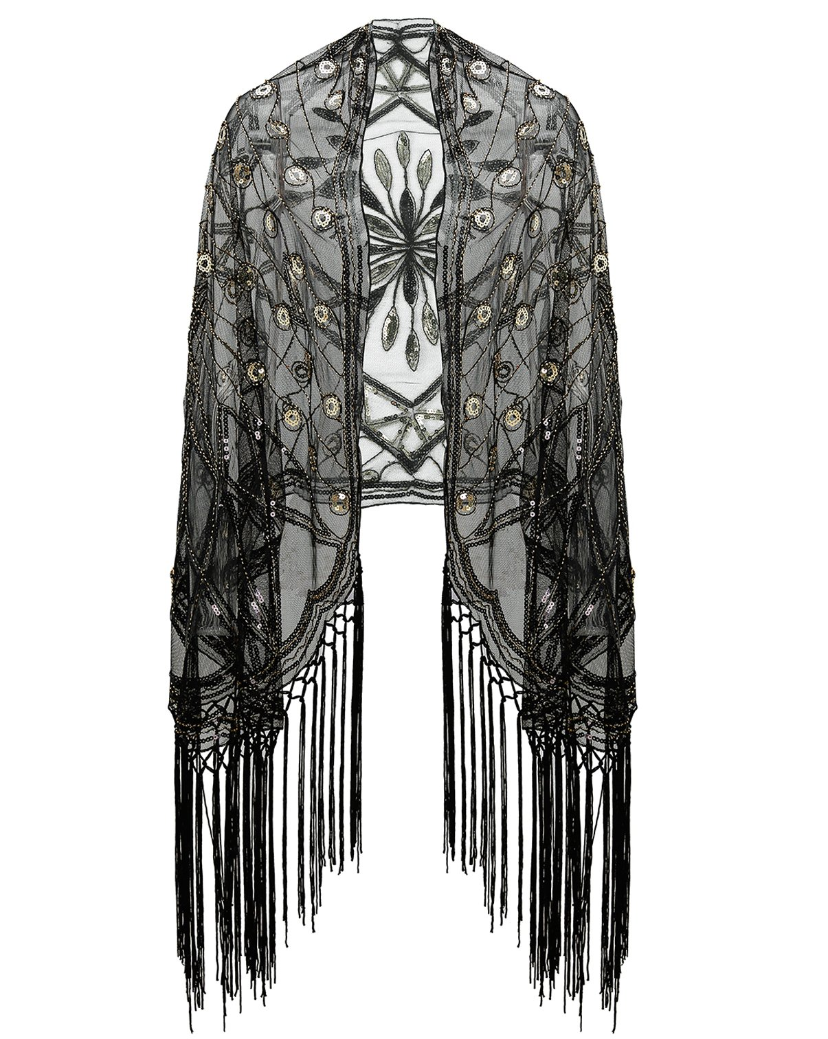 Metme Women's 1920s Scarf Wraps Sequin Deco Fringed Wedding Cape Evening Shawl Vintage Prom