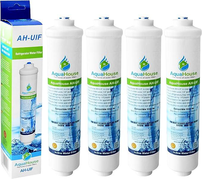 4x AquaHouse AH-UIF Filtro universal de agua para nevera ...