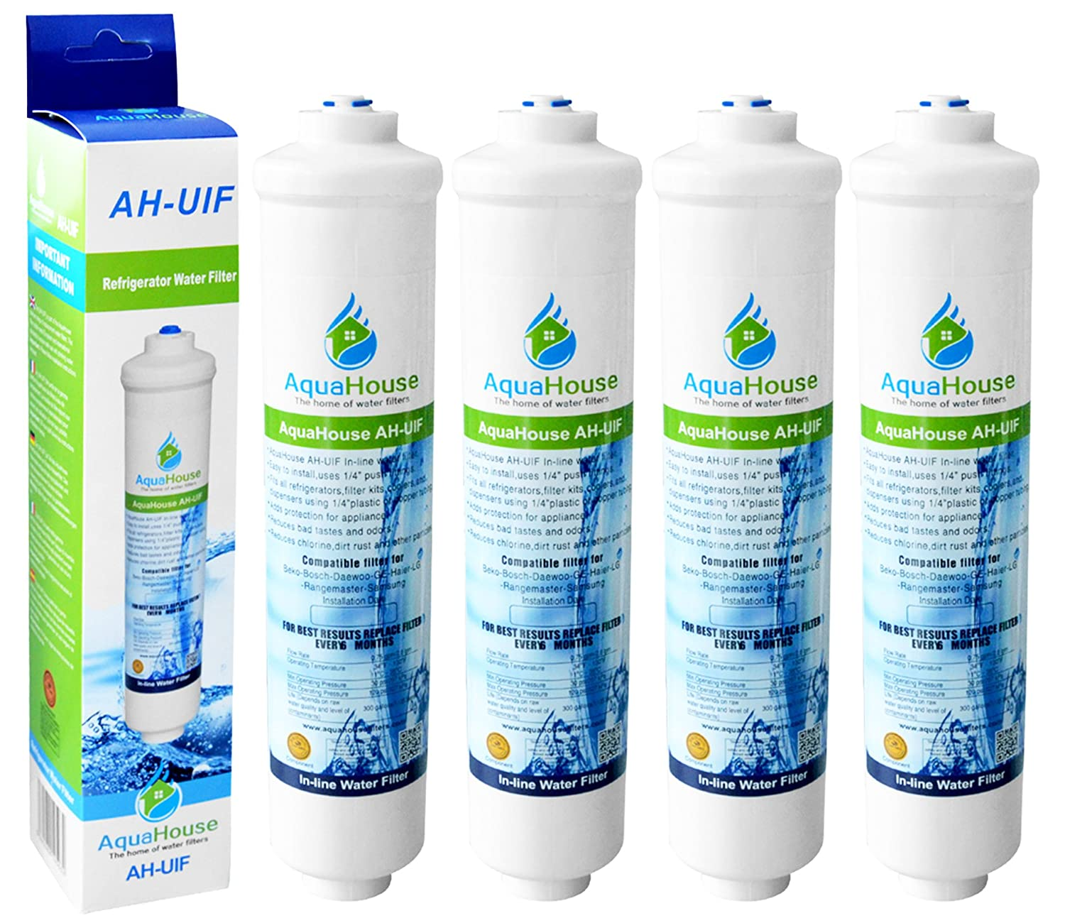 4x AquaHouse UIFH Compatible for Haier 0060823485A Kemflo Aicro water filter for Haier, CDA, Firstline, Frigistar refrigerators CMIBJCK004179