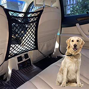 DYKESON Dog Car Net Barrier Pet Barrier with Auto Safety Mesh Organizer Baby Stretchable Storage Bag Universal for Cars, SUVs -Easy Install,Safer to Drive with Children and Pets