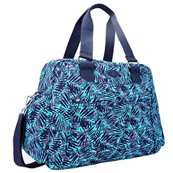34865caeabe948 Amazon.com | Nylon Travel Tote Cross-body Carry On Bag with shoulder strap  (Leaf Blue) | Travel Totes